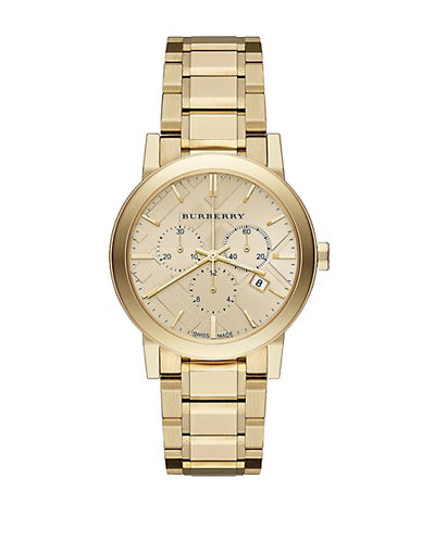 BURBERRY Ladies Gold-Tone Stainless Steel Chronograph Watch