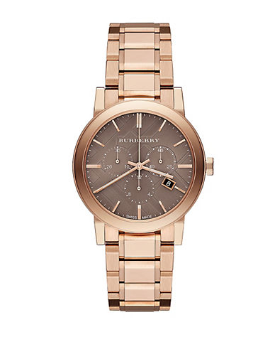 BURBERRY Ladies Rose Gold-Tone Stainless Steel Chronograph Watch