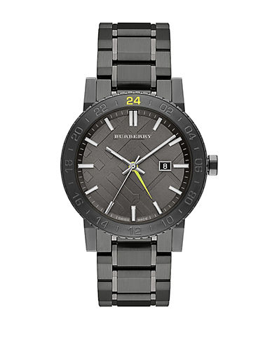 BURBERRYMens Charcoal Stainless Steel Bracelet Watch