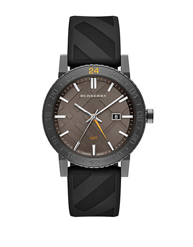 BURBERRY Mens Charcoal and Black Watch with Rubber Strap