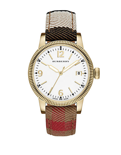 BURBERRYLadies Gold-Tone Watch with House Check Strap