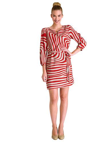 TAHARI ARTHUR S. LEVINEEmily Belted Wavy Stripe Dress