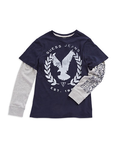 GUESS Boys 8-20 Mock Layer Eagle Tee