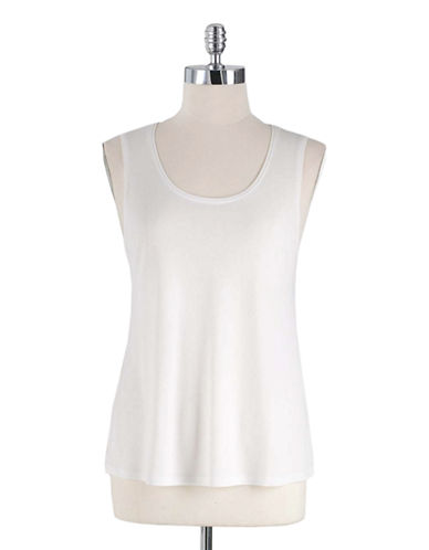 EILEEN FISHER PLUS Plus Stretch Silk Jersey Scoopneck Tank Top