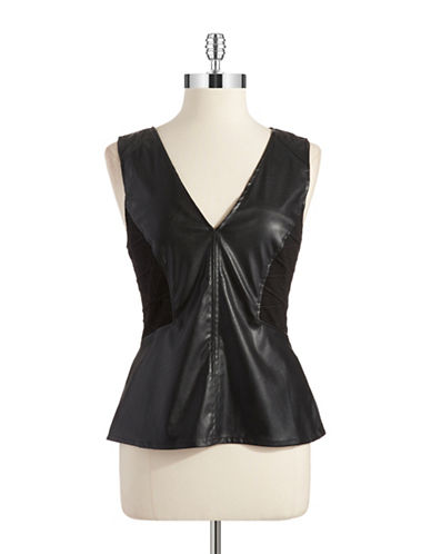 SANCTUARYFaux Leather Accented Peplum Top