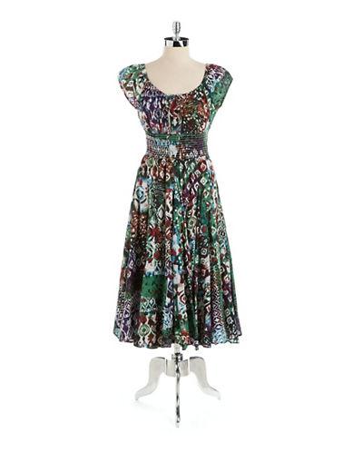 CHELSEA & THEODORECotton Printed Peasant Dress