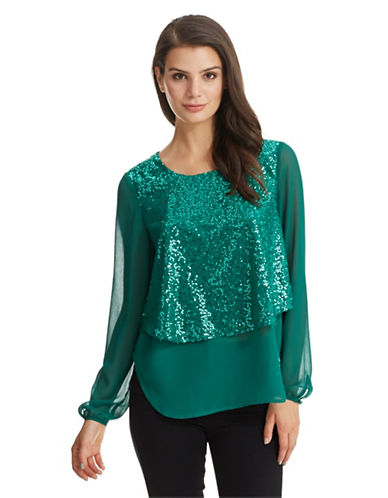 PHILOSOPHY BY REPUBLIC Layered Sequin Blouse