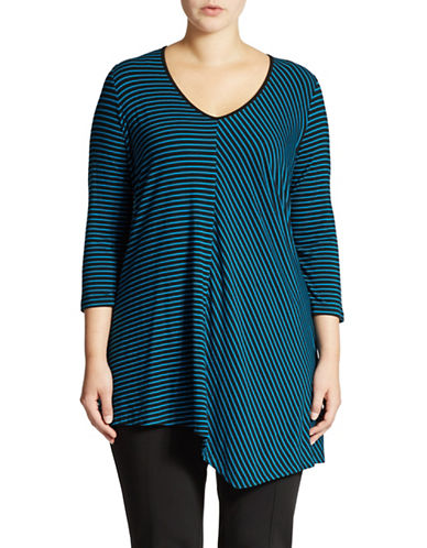 Grace Elements Plus Plus Striped Asymmetric Hem Top