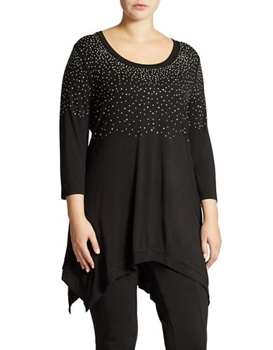 Grace Elements Plus Plus Bejewelled Hankie Hem Top