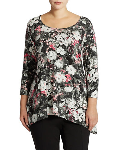 Grace Elements Plus Plus Flowery Print Tunic with Sharkbite Hem