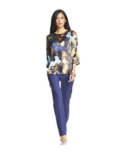 LAFAYETTE 148 Aquatic Watercolor Silk Blouse