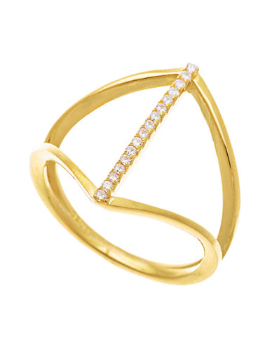 LORD & TAYLOR Gold Tone and Cubic Zirconia Geometric Ring