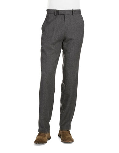 BLACK BROWN 1826 Wool Flat Front Pants