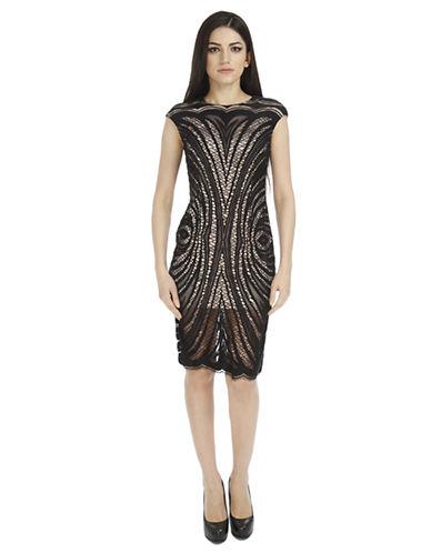 ALEXIA ADMOROpen Knit Dress with Scalloped Hemline