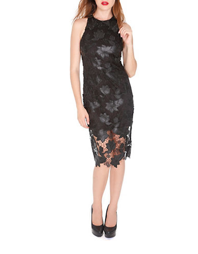 ALEXIA ADMOR Lace and Faux Leather Sheath Dress