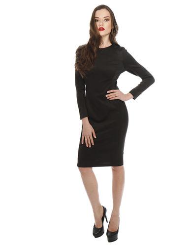 ALEXIA ADMORLeatherette Ponte Knit Sheath Dress
