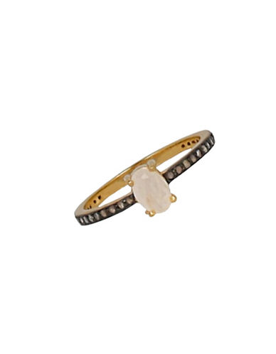 chan luu female 18 tcw diamond garnet and 18k goldplated sterling silver ring