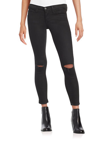Distressed Cropped Skinny Jeans - Black