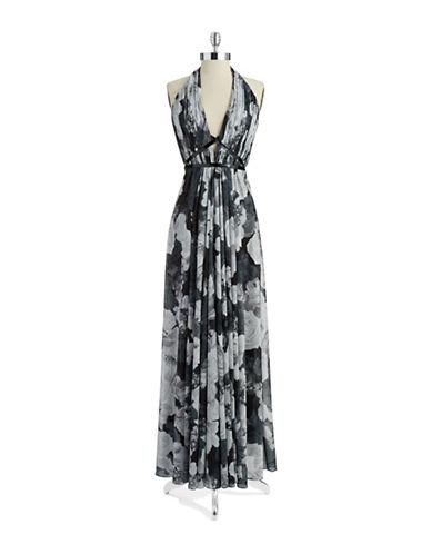 Shop Pamella Pamella Roland online and buy Pamella Pamella Roland Floral Halter Gown dress online