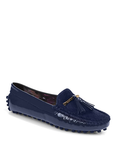 TED BAKERHarlii Patent Leather and Faux Fur Driving Loafers