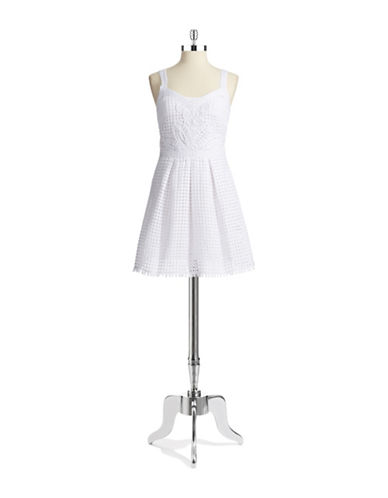 Shop Yoana By Yoana Baraschi online and buy Yoana By Yoana Baraschi Lattice Accented Fit and Flare Dress dress online