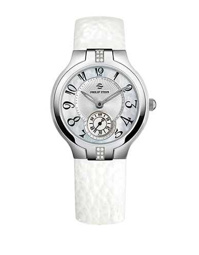 Ladies Sport Watch with White Leather Strap