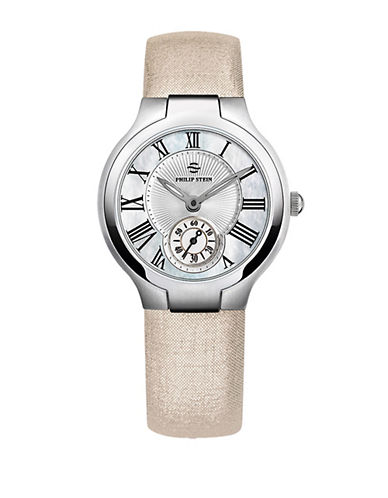 PHILIP STEINLadies Silver Tone and Metallic Leather Chronograph Watch