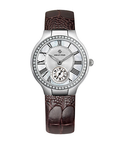 Ladies Silvertone Diamond and Leather Chronograph Watch