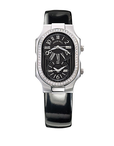 Ladies Silvertone Diamond and Patent Leather Watch