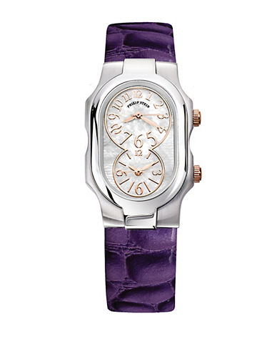 Ladiesâ Signature Stainless Steel Dual Time Zone Watch with Leather Strap