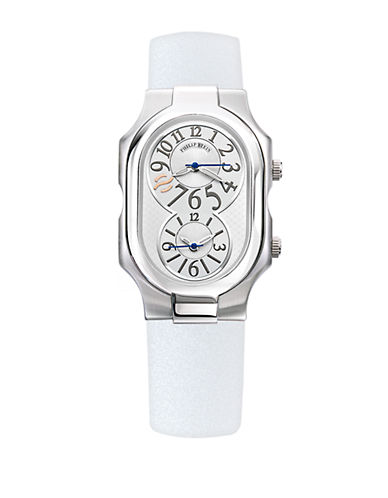 Ladies Large Signature Stainless Steel Dual Time Zone Watch