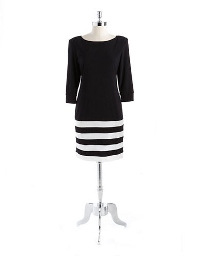 A.B.S. BY ALLEN SCHWARTZThree Quarter Sleeved Striped Dress