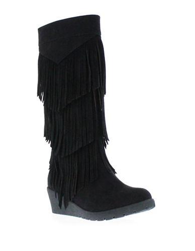 kenneth cole female simona fringe microsuede wedge boots