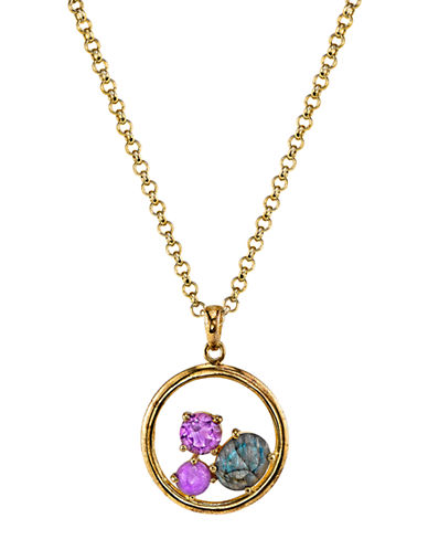 LORD & TAYLOR Gold Tone and Mixed Gemstone Circle Pendant Necklace