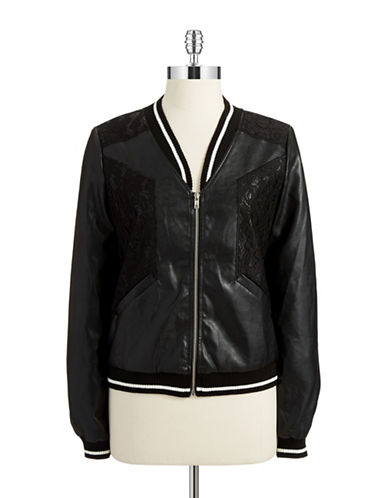SUGARLIPS Faux Leather and Lace Bomber Jacket