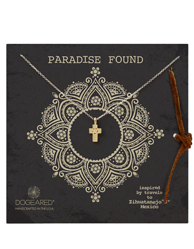 DOGEARED Paradise Found Flower Cross Pendant Necklace