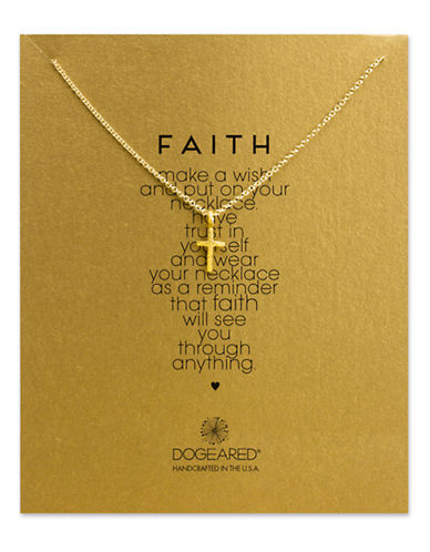 DOGEARED14K Gold Dipped Cross Pendant Necklace