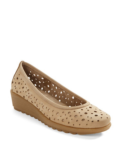 THE FLEXX Perforated Low-Wedge Suede Flats