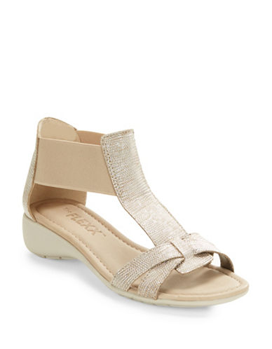 Buy Band Together Saffiano Leather T-Strap Sandals by The Flexx online