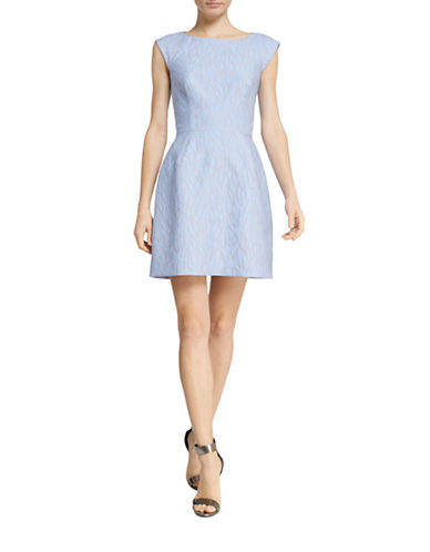 Halston Heritage Jacquard Cap-Sleeve Fit and Flare Dress