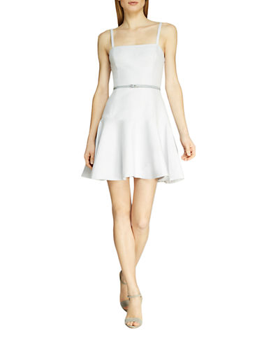 Halston Heritage Silk-Blend Belted Fit and Flare Dress
