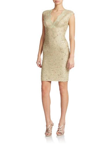 JULIAN JOYCESequined Lace Sheath Dress