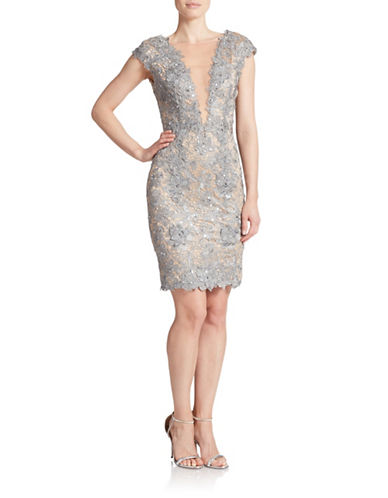 JULIAN JOYCE Floral Lace Overlay Cocktail Dress