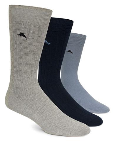 TOMMY BAHAMA3 Pack Textured Crew Socks