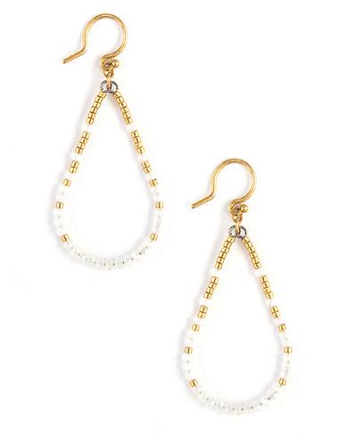 CHAN LUUGold Tone and Seed Bead Drop Hoop Earrings