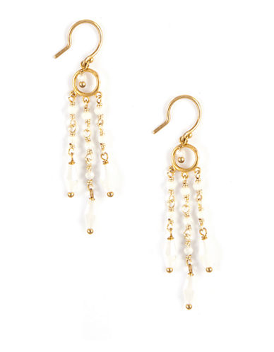 CHAN LUUGold-Tone and White Crystal Multi-Strand Earrings
