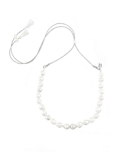 CHAN LUU9-10MM White and Fringe Pearl Lariat Necklace