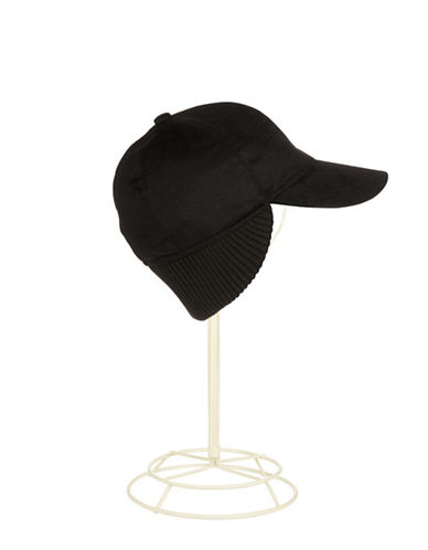 BLACK BROWN 1826Cashmere Baseball Cap with Ribbed Trim