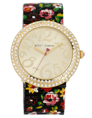 BETSEY JOHNSON Ladies Crystallized Gold Tone Watch with Floral Print Bracelet