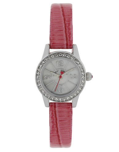 BETSEY JOHNSONLadies Crystallized Silver Tone Mini Watch with Pink Leather Strap